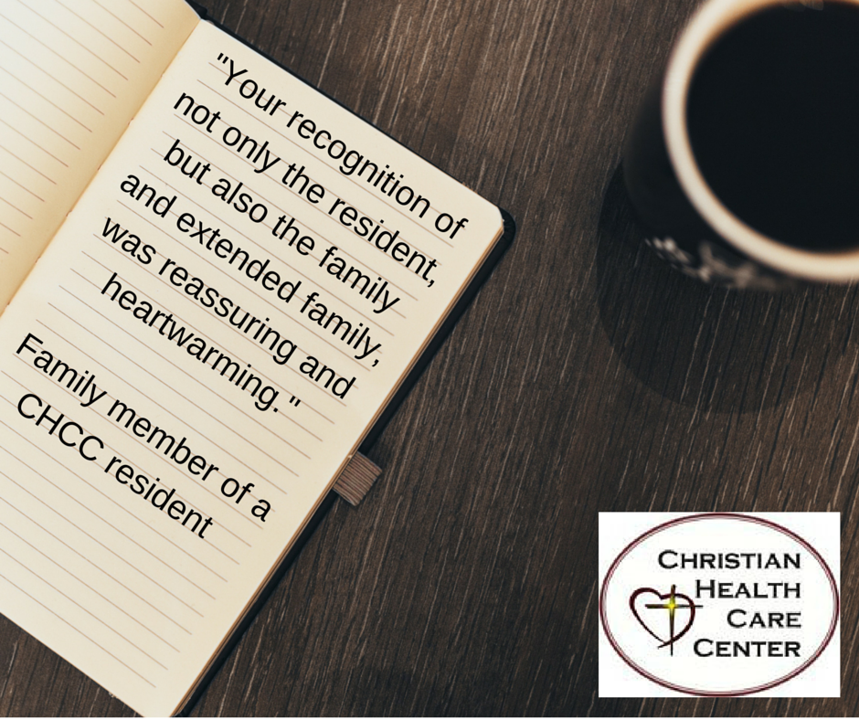 CHCC testimonial - recognition of resident and family, FB