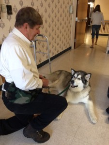 Yukon and his owner Elmer 2016- pet therapy visits